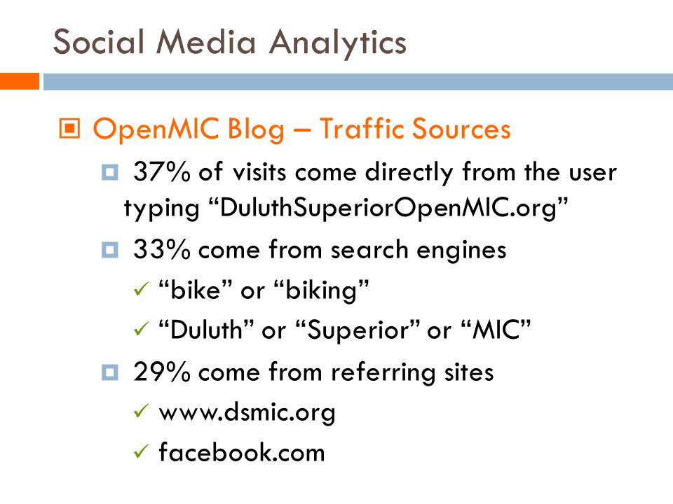Social Media Analytics OpenMIC Blog – Traffic Sources 37% of visits come directly from the user typing DuluthSuperiorOpenMIC.org 33% come from search engines bike or biking Duluth or Superior or MIC 29% come from referring sites www.dsmic.org facebook.com