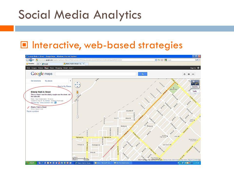 Social Media Analytics Interactive, web-based strategies
