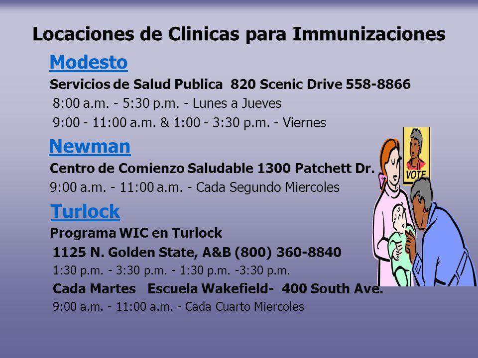 Locaciones de Clinicas para Immunizaciones Modesto Servicios de Salud Publica 820 Scenic Drive 558-8866 8:00 a.m. - 5:30 p.m. - Lunes a Jueves 9:00 -