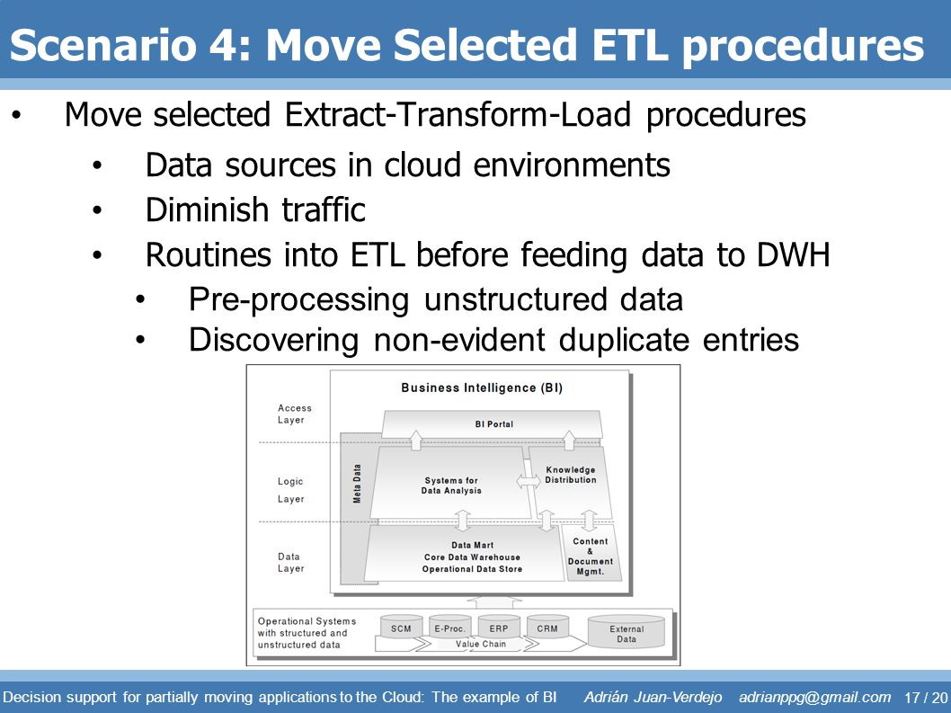 Scenario 4: Move Selected ETL procedures Move selected Extract-Transform-Load procedures Data sources in cloud environments Diminish traffic Routines