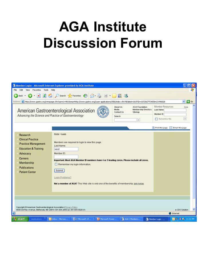 AGA Institute Discussion Forum