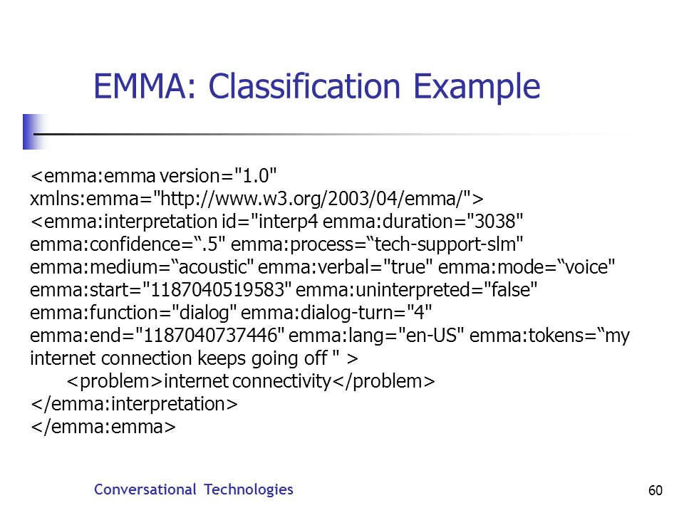 Conversational Technologies 60 EMMA: Classification Example internet connectivity