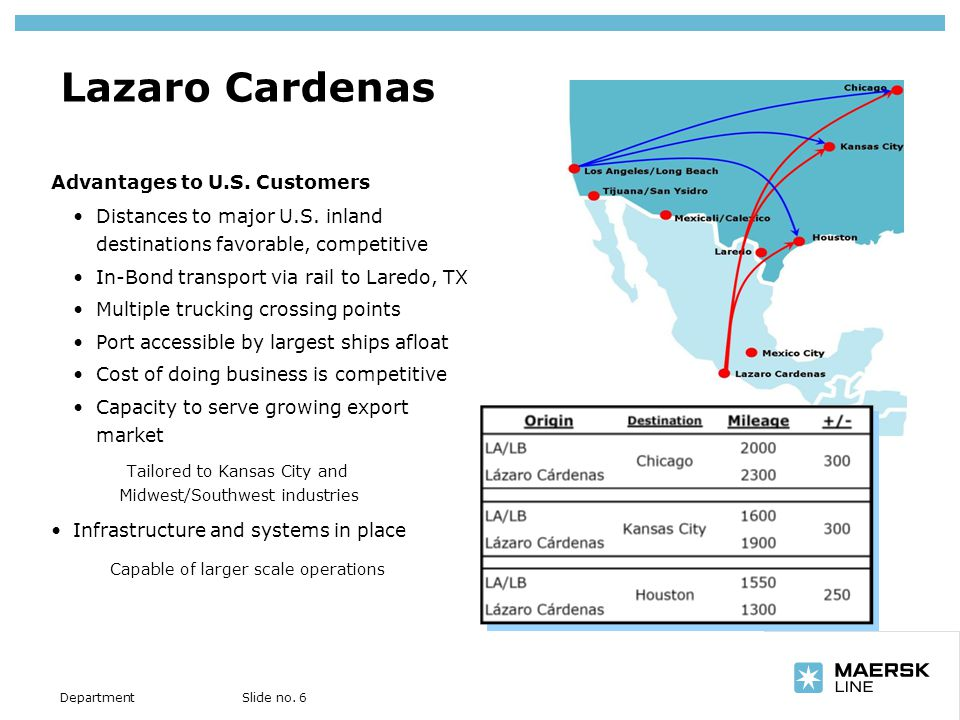Insert department name via View/Header and Footer… Slide no. 6Department Lazaro Cardenas Advantages to U.S. Customers Distances to major U.S. inland d