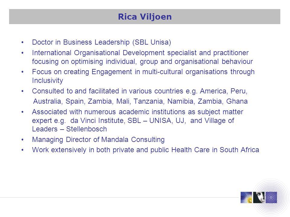 Doctor in Business Leadership (SBL Unisa) International Organisational Development specialist and practitioner focusing on optimising individual, grou