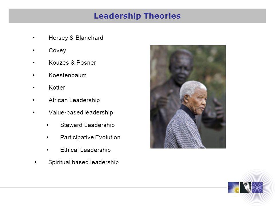 Hersey & Blanchard Covey Kouzes & Posner Koestenbaum Kotter African Leadership Value-based leadership Steward Leadership Participative Evolution Ethic
