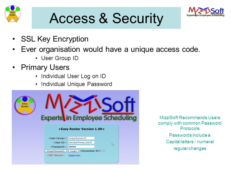 Access & Security SSL Key Encryption Ever organisation would have a unique access code.