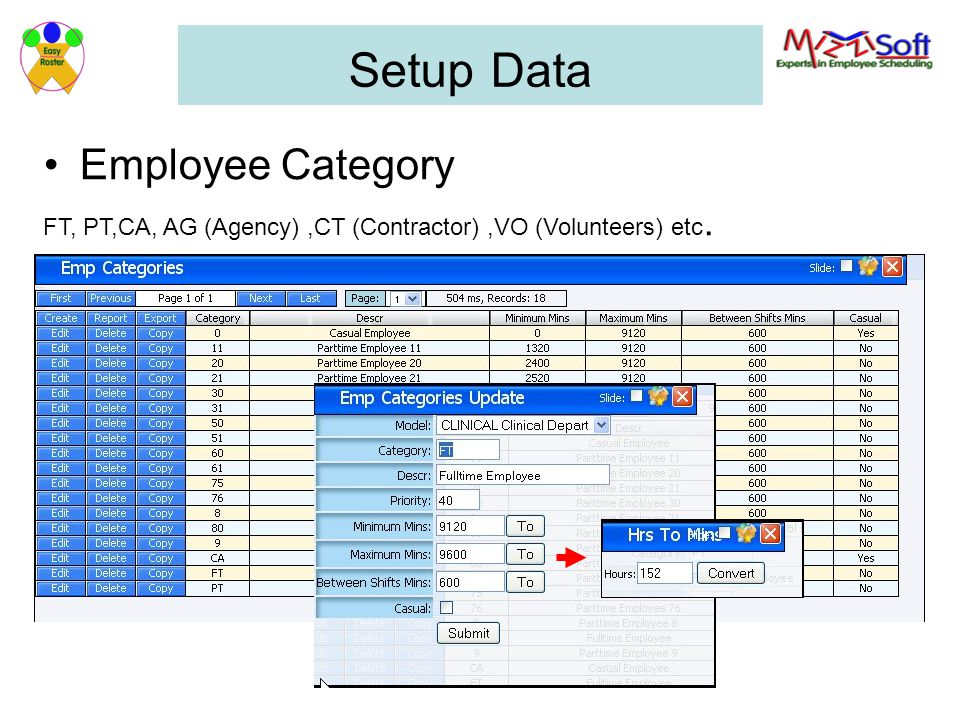 Setup Data Employee Category FT, PT,CA, AG (Agency),CT (Contractor),VO (Volunteers) etc.