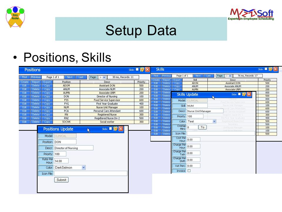 Setup Data Positions, Skills