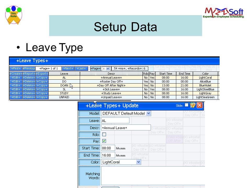 Setup Data Leave Type