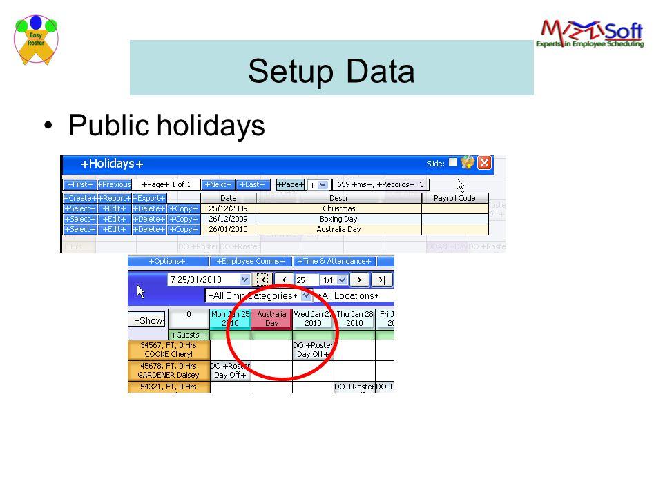 Setup Data Public holidays