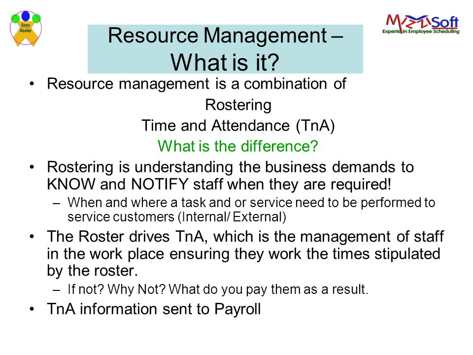 Resource Management – What is it.