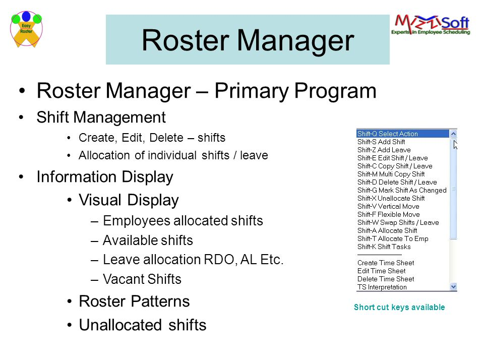 Roster Manager Roster Manager – Primary Program Shift Management Create, Edit, Delete – shifts Allocation of individual shifts / leave Information Dis