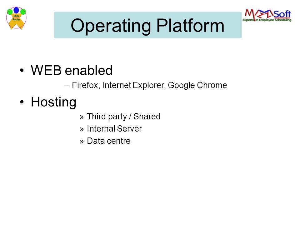 Operating Platform WEB enabled –Firefox, Internet Explorer, Google Chrome Hosting »Third party / Shared »Internal Server »Data centre