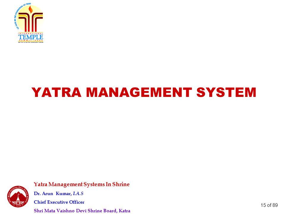 Yatra Management Systems In Shrine Dr. Arun Kumar, I.A.S Chief Executive Officer Shri Mata Vaishno Devi Shrine Board, Katra 15 of 89 YATRA MANAGEMENT