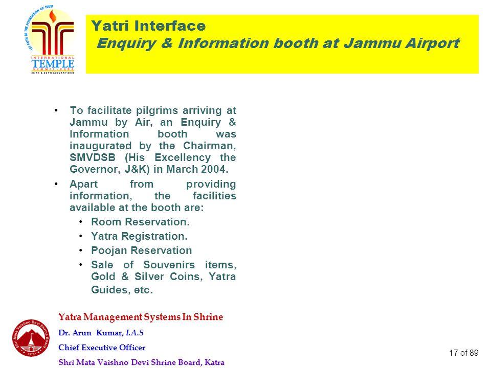 Yatra Management Systems In Shrine Dr. Arun Kumar, I.A.S Chief Executive Officer Shri Mata Vaishno Devi Shrine Board, Katra 17 of 89 Yatri Interface E