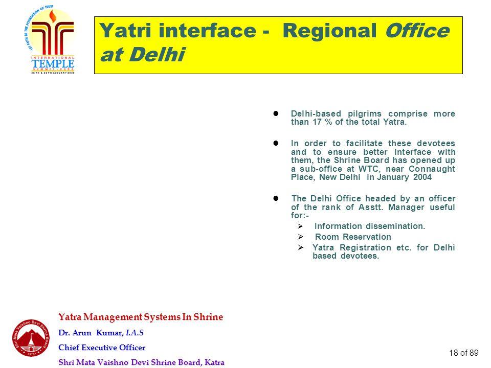 Yatra Management Systems In Shrine Dr. Arun Kumar, I.A.S Chief Executive Officer Shri Mata Vaishno Devi Shrine Board, Katra 18 of 89 Yatri interface -