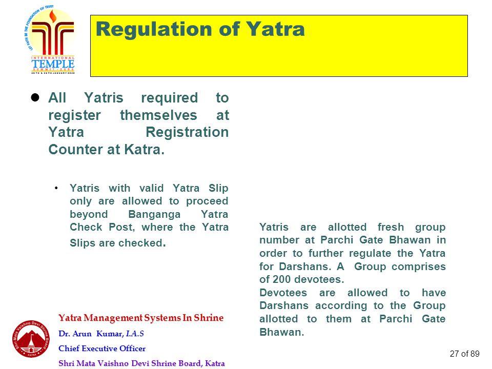Yatra Management Systems In Shrine Dr. Arun Kumar, I.A.S Chief Executive Officer Shri Mata Vaishno Devi Shrine Board, Katra 27 of 89 Regulation of Yat