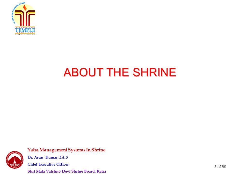Yatra Management Systems In Shrine Dr. Arun Kumar, I.A.S Chief Executive Officer Shri Mata Vaishno Devi Shrine Board, Katra 3 of 89 ABOUT THE SHRINE