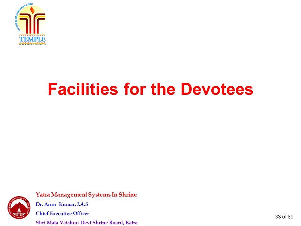 Yatra Management Systems In Shrine Dr. Arun Kumar, I.A.S Chief Executive Officer Shri Mata Vaishno Devi Shrine Board, Katra 33 of 89 Facilities for th