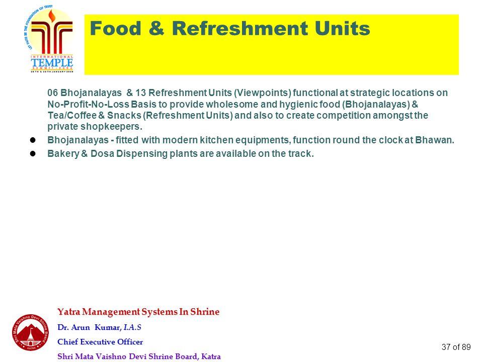 Yatra Management Systems In Shrine Dr. Arun Kumar, I.A.S Chief Executive Officer Shri Mata Vaishno Devi Shrine Board, Katra 37 of 89 Food & Refreshmen