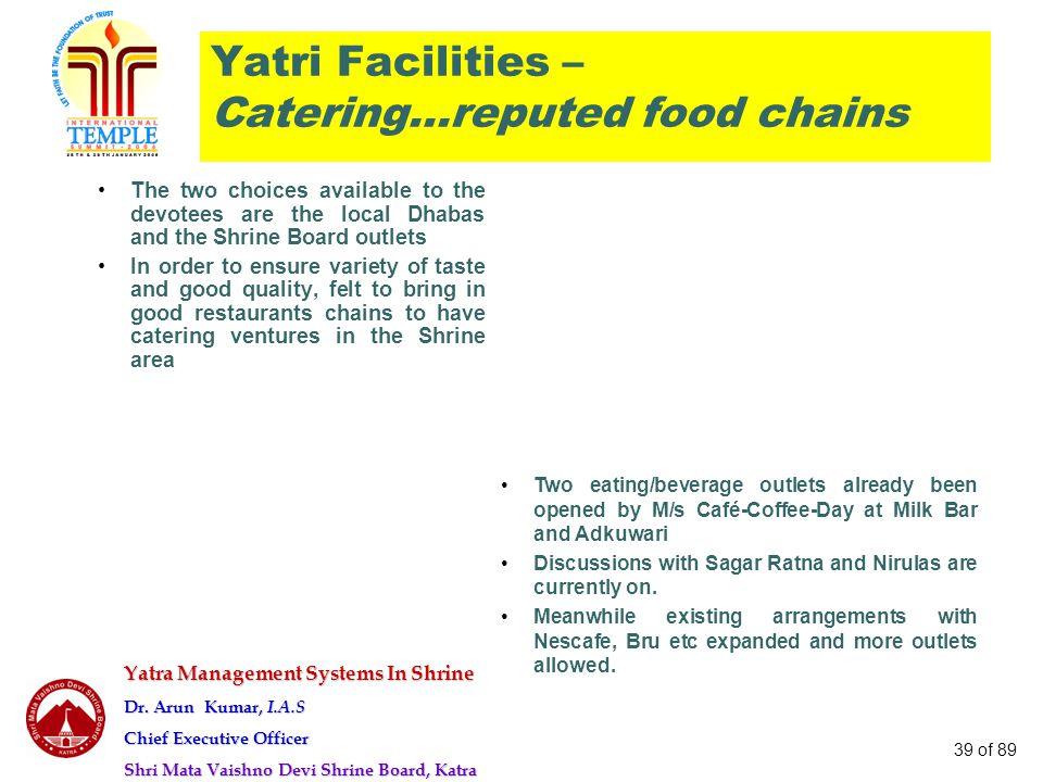 Yatra Management Systems In Shrine Dr. Arun Kumar, I.A.S Chief Executive Officer Shri Mata Vaishno Devi Shrine Board, Katra 39 of 89 Yatri Facilities