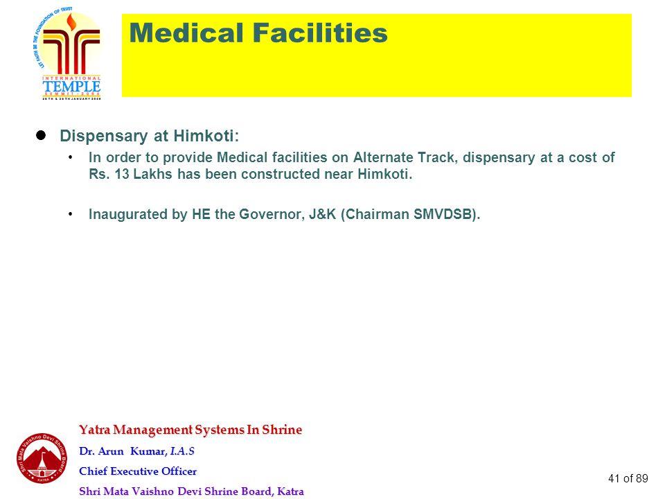 Yatra Management Systems In Shrine Dr. Arun Kumar, I.A.S Chief Executive Officer Shri Mata Vaishno Devi Shrine Board, Katra 41 of 89 Medical Facilitie