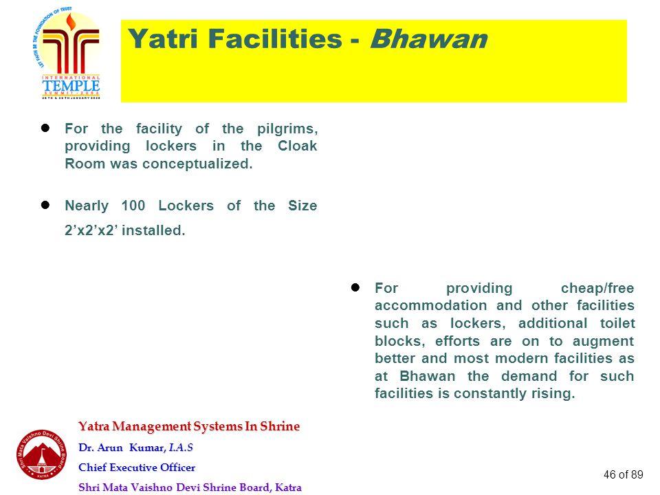 Yatra Management Systems In Shrine Dr. Arun Kumar, I.A.S Chief Executive Officer Shri Mata Vaishno Devi Shrine Board, Katra 46 of 89 Yatri Facilities