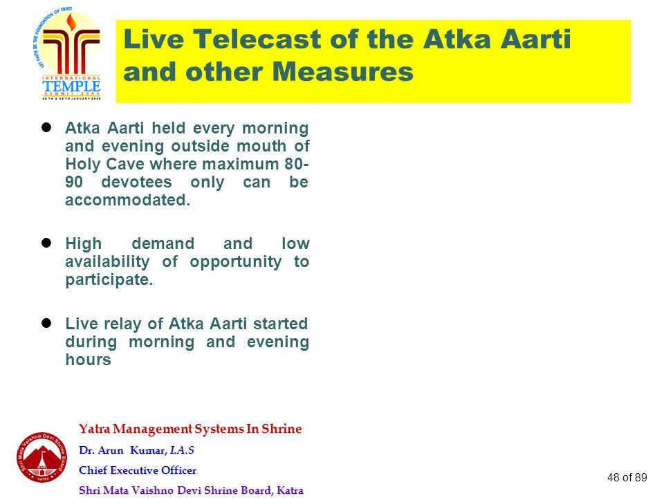 Yatra Management Systems In Shrine Dr. Arun Kumar, I.A.S Chief Executive Officer Shri Mata Vaishno Devi Shrine Board, Katra 48 of 89 Live Telecast of