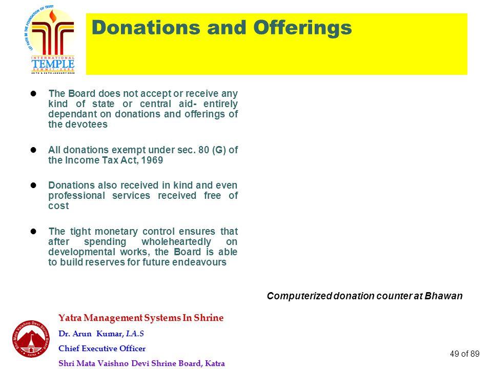 Yatra Management Systems In Shrine Dr. Arun Kumar, I.A.S Chief Executive Officer Shri Mata Vaishno Devi Shrine Board, Katra 49 of 89 Donations and Off