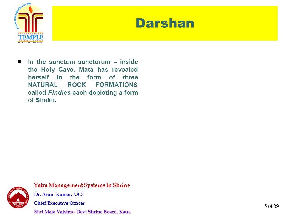 Yatra Management Systems In Shrine Dr. Arun Kumar, I.A.S Chief Executive Officer Shri Mata Vaishno Devi Shrine Board, Katra 5 of 89 Darshan In the san