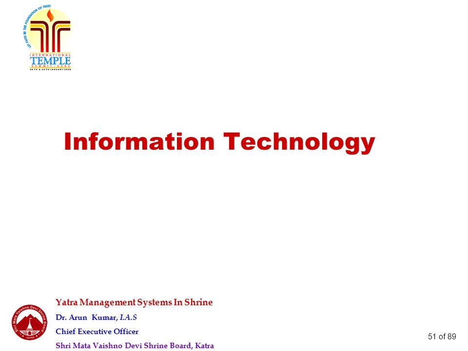 Yatra Management Systems In Shrine Dr. Arun Kumar, I.A.S Chief Executive Officer Shri Mata Vaishno Devi Shrine Board, Katra 51 of 89 Information Techn