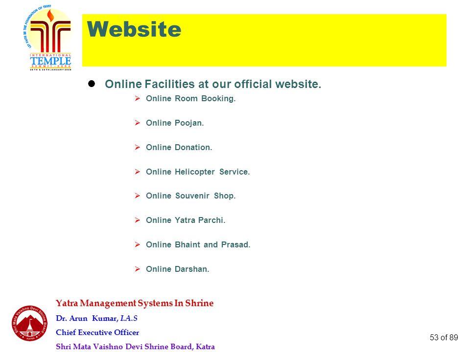Yatra Management Systems In Shrine Dr. Arun Kumar, I.A.S Chief Executive Officer Shri Mata Vaishno Devi Shrine Board, Katra 53 of 89 Website Online Fa