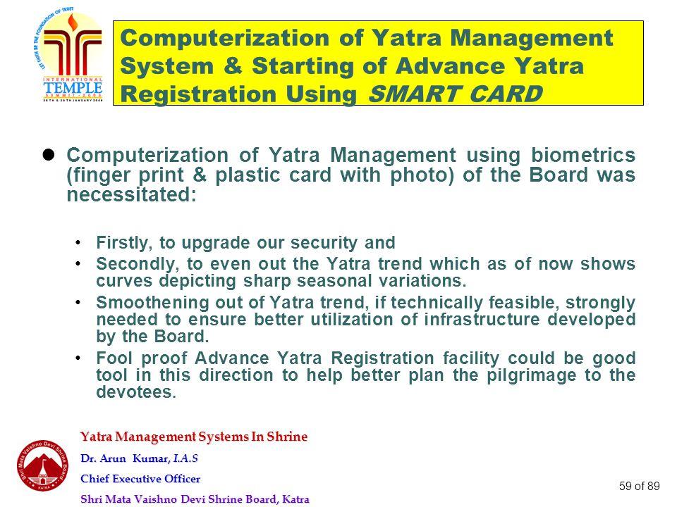 Yatra Management Systems In Shrine Dr. Arun Kumar, I.A.S Chief Executive Officer Shri Mata Vaishno Devi Shrine Board, Katra 59 of 89 Computerization o