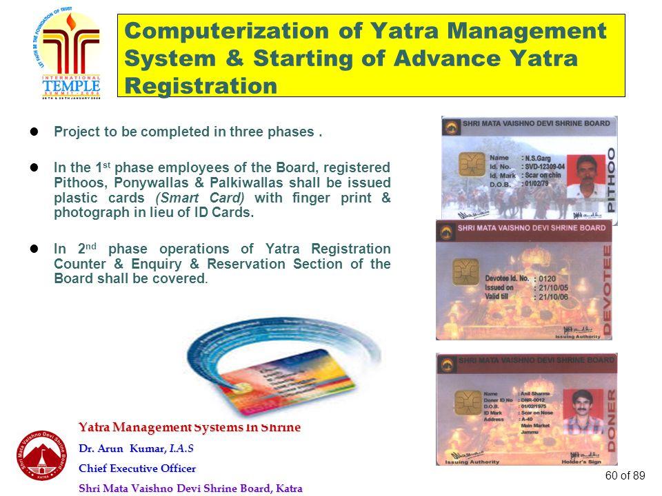 Yatra Management Systems In Shrine Dr. Arun Kumar, I.A.S Chief Executive Officer Shri Mata Vaishno Devi Shrine Board, Katra 60 of 89 Computerization o