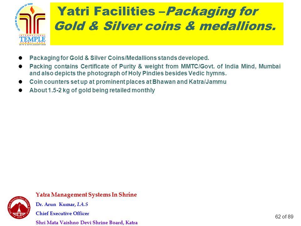Yatra Management Systems In Shrine Dr. Arun Kumar, I.A.S Chief Executive Officer Shri Mata Vaishno Devi Shrine Board, Katra 62 of 89 Yatri Facilities