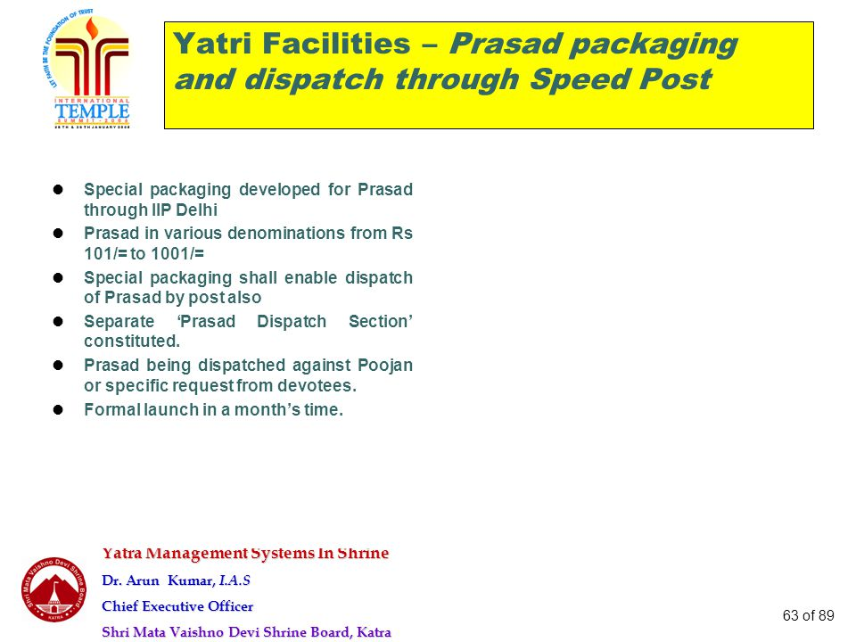 Yatra Management Systems In Shrine Dr. Arun Kumar, I.A.S Chief Executive Officer Shri Mata Vaishno Devi Shrine Board, Katra 63 of 89 Yatri Facilities