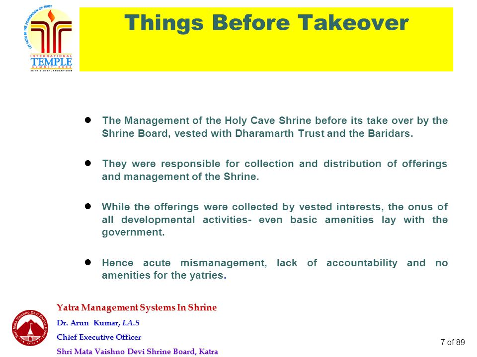 Yatra Management Systems In Shrine Dr. Arun Kumar, I.A.S Chief Executive Officer Shri Mata Vaishno Devi Shrine Board, Katra 7 of 89 Things Before Take
