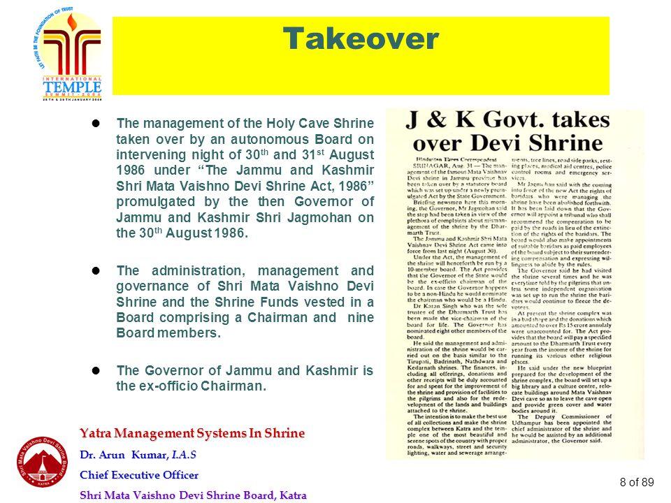 Yatra Management Systems In Shrine Dr. Arun Kumar, I.A.S Chief Executive Officer Shri Mata Vaishno Devi Shrine Board, Katra 8 of 89 Takeover The manag