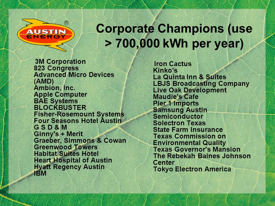 R Corporate Champions (use > 700,000 kWh per year) 3M Corporation 823 Congress Advanced Micro Devices (AMD) Ambion, Inc.