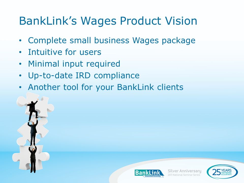 Complete small business Wages package Intuitive for users Minimal input required Up-to-date IRD compliance Another tool for your BankLink clients BankLinks Wages Product Vision