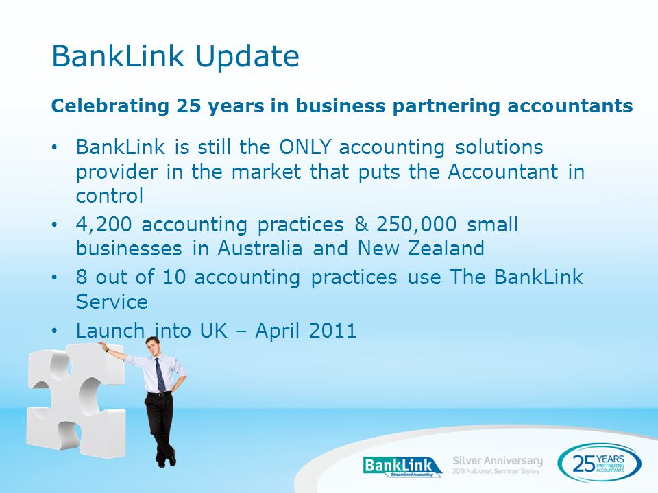 When you sign a client up to The BankLink Service part-way through the year, there may be quite a number of earlier transactions to add to their account Benefits Allow the complete view of new clients financial history Reduce manual data entry Historical Data Entry Refresher