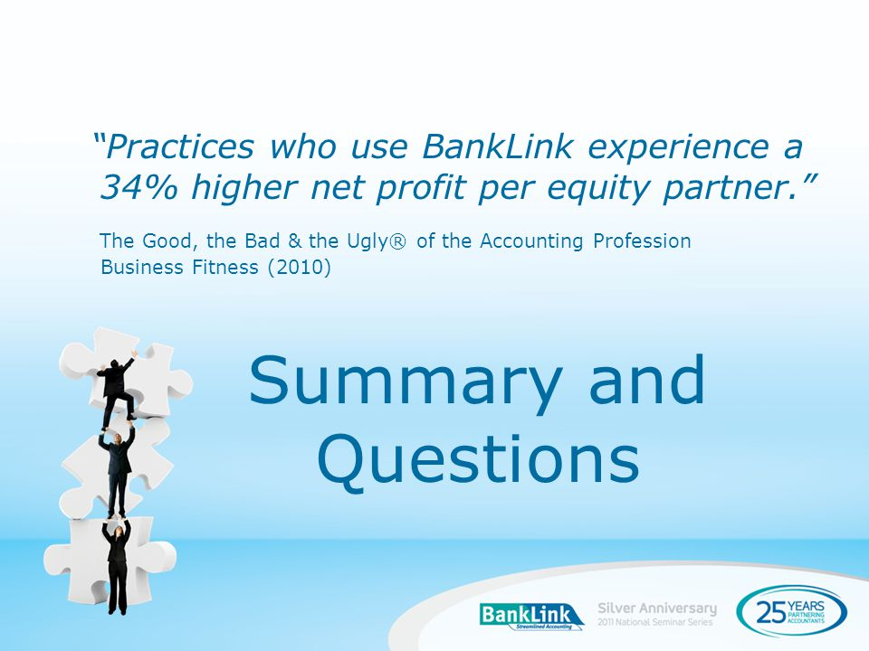 Summary and Questions Practices who use BankLink experience a 34% higher net profit per equity partner.