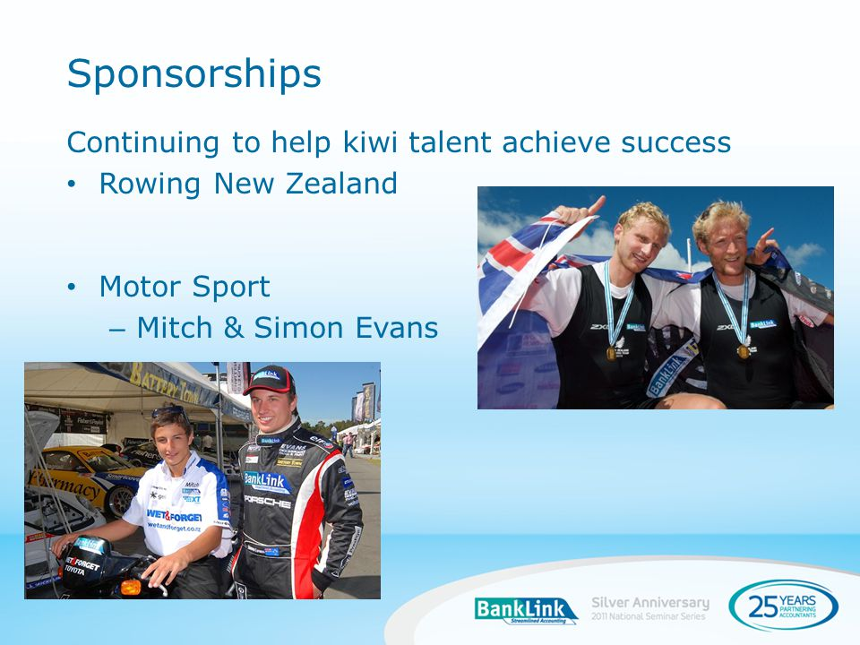 Continuing to help kiwi talent achieve success Rowing New Zealand Motor Sport – Mitch & Simon Evans Sponsorships