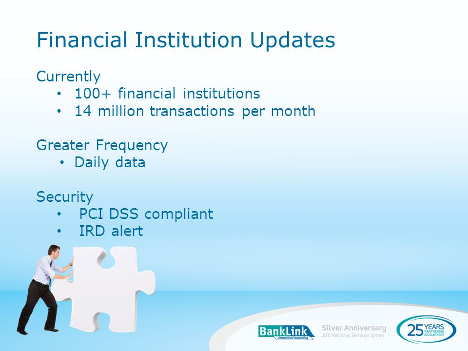 New Data Sources in 2010 Kiwibank credit cards WBS (Wairarapa Building Society) Westland Dairy Daily Data Supply - Kiwibank New Data Sources in Discussion Open Country RaboPlus Tatua Dairy TSB - credit card data Financial Institution Updates