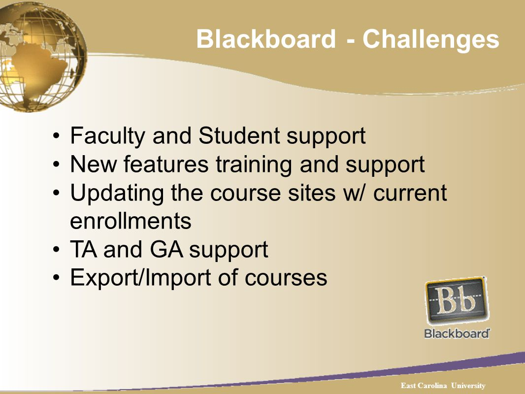 Blackboard - Challenges Faculty and Student support New features training and support Updating the course sites w/ current enrollments TA and GA support Export/Import of courses East Carolina University