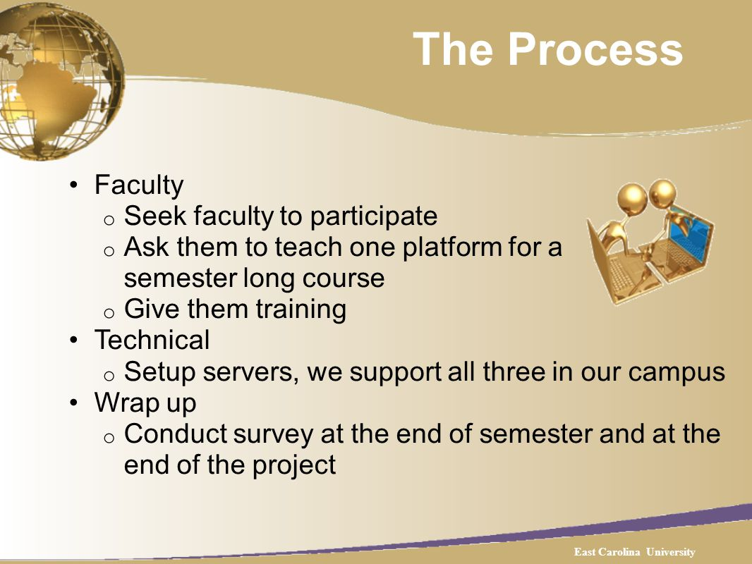 The Process Faculty o Seek faculty to participate o Ask them to teach one platform for a semester long course o Give them training Technical o Setup servers, we support all three in our campus Wrap up o Conduct survey at the end of semester and at the end of the project East Carolina University