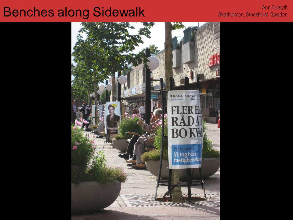 www.annforsyth.net Benches along Sidewalk Ann Forsyth Skärholmen, Stockholm, Sweden