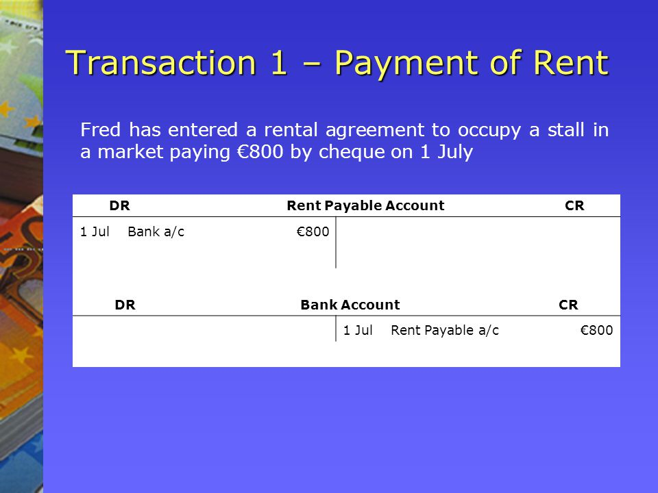 Transaction 1 – Payment of Rent Fred has entered a rental agreement to occupy a stall in a market paying 800 by cheque on 1 July DR Rent Payable Account CR 1 JulBank a/c800 DR Bank Account CR 1 JulRent Payable a/c800