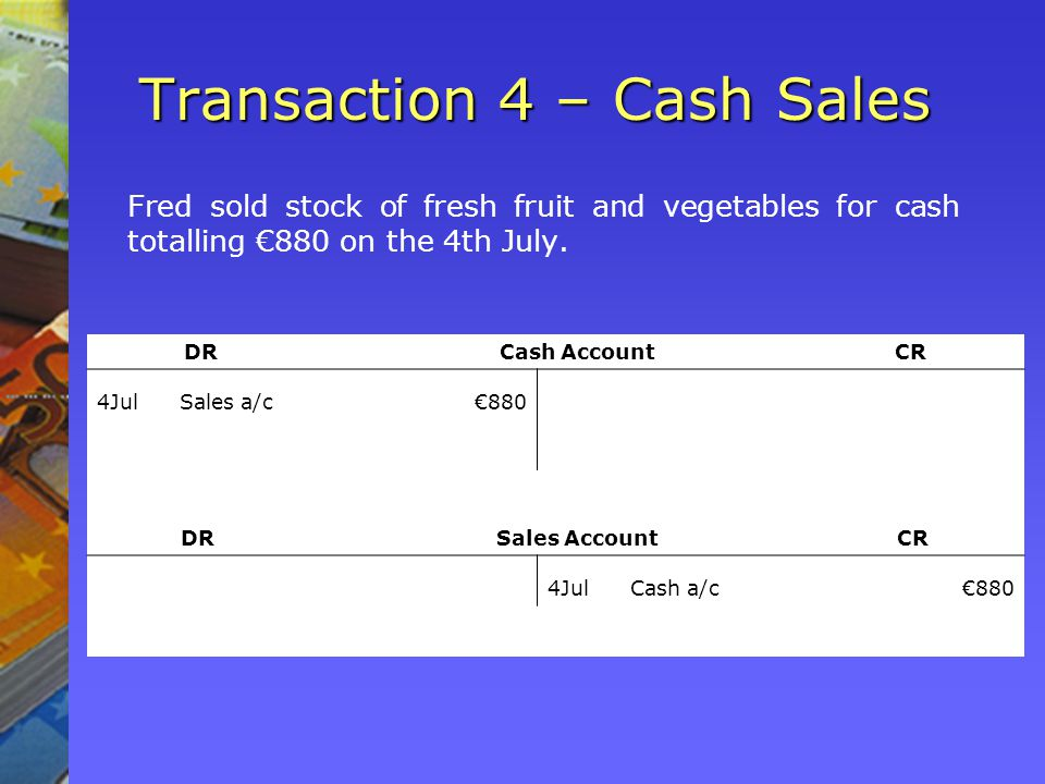 Transaction 4 – Cash Sales Fred sold stock of fresh fruit and vegetables for cash totalling 880 on the 4th July.