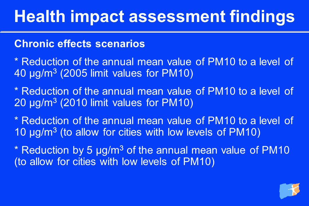 Acute effects scenarios * Reduction of PM10/BS levels to a 24-hour value of 50 µg/m 3 (2005 and 2010 limit values for PM10) on all days exceeding this value * Reduction of PM10/BS levels to a 24-hour value of 20 µg/m 3 (to allow for cities with low levels of PM10/BS) on all days exceeding this value * Reduction by 5 µg/m 3 of all the 24-hour daily values of PM10/BS (to allow for cities with low levels of PM10/BS) Health impact assessment findings